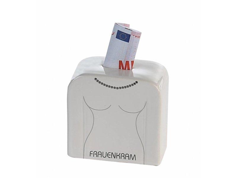 """Casablanca Design Spardose """"Frauenkram""""  Keramik . weiß / grau . glasiert mit Schriftzug """"FRAUENKRAM""""  Gummistopfen  Höhe: 10 cm Breite: 10 cm Tiefe: 5 cm"""