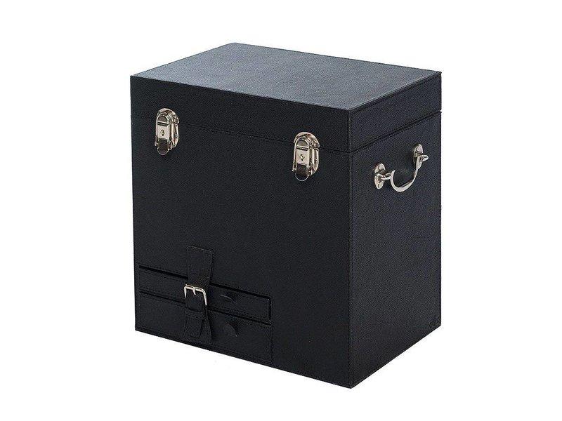 COFUR Colonial furniture & design Weinbox für 2 Weinflaschen, Weinkühler, Kellnermesser, Flaschenöffner alles aus schwarzen Leder - Handarbeit