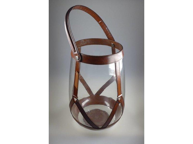 COFUR Colonial furniture & design Hochwertiges Laternenset aus Leder und Glas. Die Kerzen lassen sich problemlos hineinstellen. Durchmesser circa 20 cm, handgefertigt.