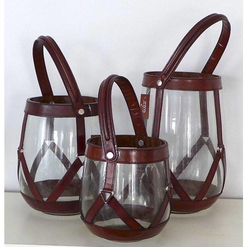 3er Laternenset aus Glas und Leder - Handarbeit