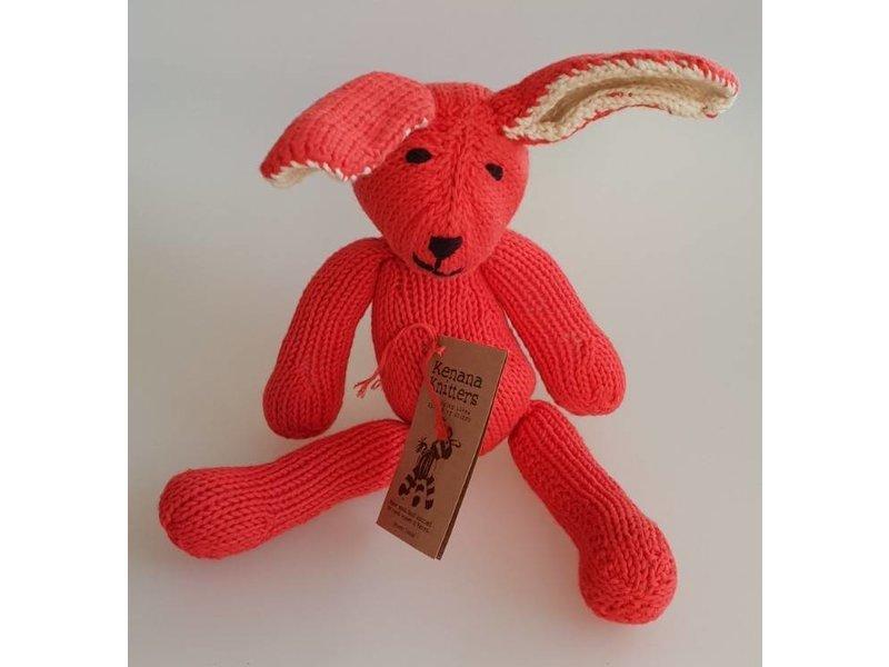 Kenana Stofftiere Baumwoll-Hase in rot - Handmade - Stofftier