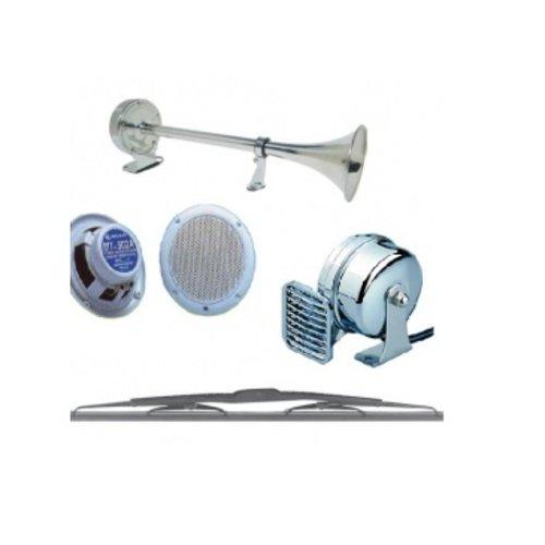 Boxen, radio's, antenne, horns, toeters, ruitenwisser en accessoires