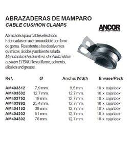 Kabel klemmen RVS met zwart rubber 10 stuks