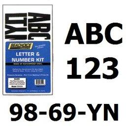 Sticker set letters en nummers 8 cm hoog (bv voor y-nummer boot) zwart of wit
