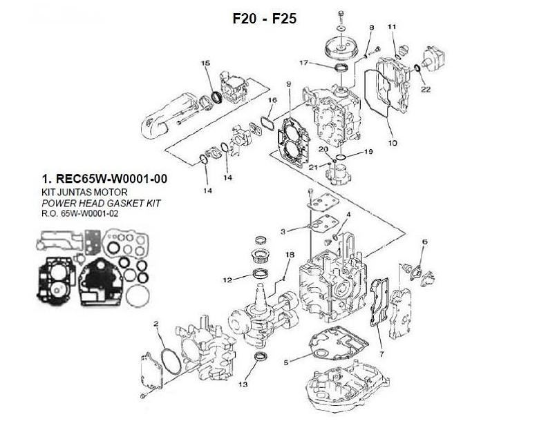 Wonderlijk Yamaha/mariner/Mercury F20 + F25 4-Takt 2 cilinder blok onderdelen PH-75