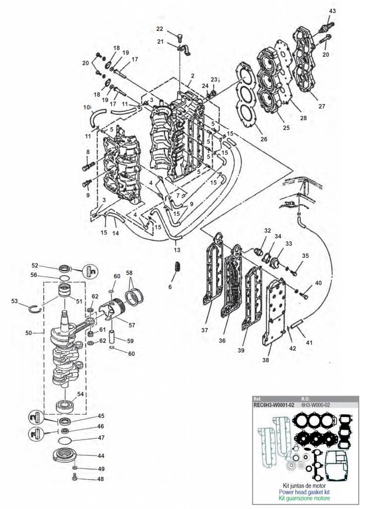 Yamaha 50 60 70 Hp 2 Stroke 3 Cylinder Block Parts Allesmarine