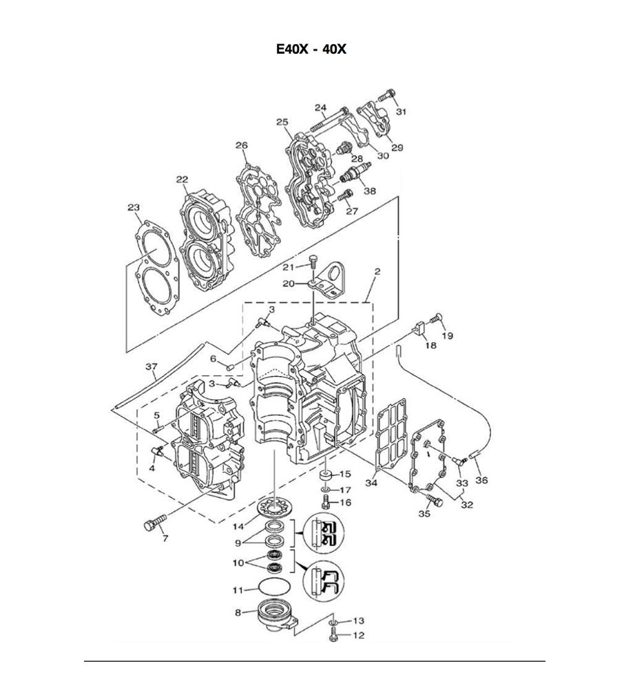 Yamaha 40 Hp 2 Stroke 2 Cylinder E40x 40xmh E40xmh Xw Xwt Block Parts Allesmarine