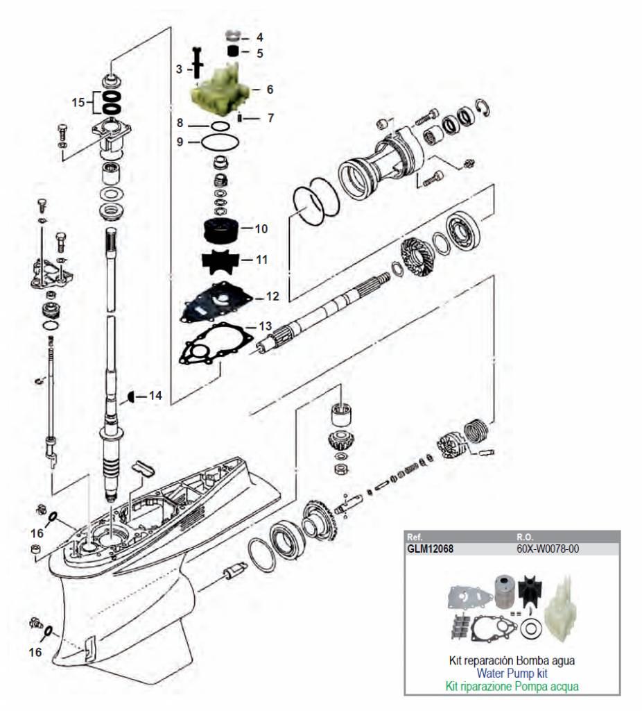 2006 /& Up 6P2-W0078-00-00 Water Pump Kit w Housing  Yamaha 4-Stroke