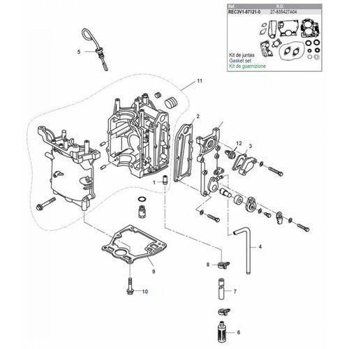 Mercury / Tohatsu / Parsun 8/9,8/9.9 pk 4T (209cc) blok onderdelen