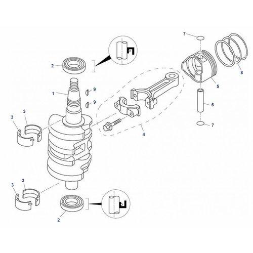 Mercury / Tohatsu / Parsun 8/9,8/9,9 pk 4T (209cc) Krukas onderdelen