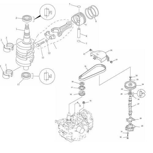 Mercury / Mariner / Yamaha / Parsun / Tohatsu 8 tot 15 pk 4T 98-07 (323cc) Krukas onderdelen