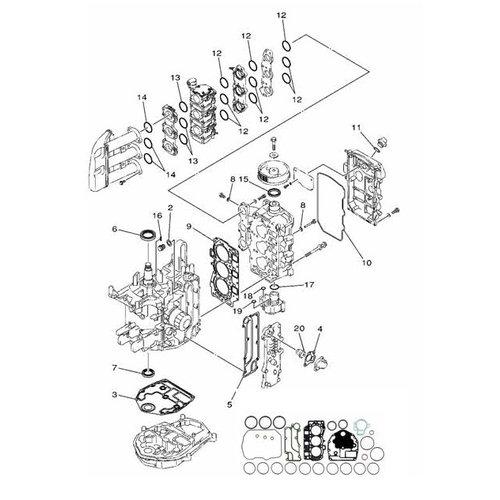 Mercury / Mariner / Yamaha Parsun 30/40 pk 4-takt 3cil Blok onderdelen