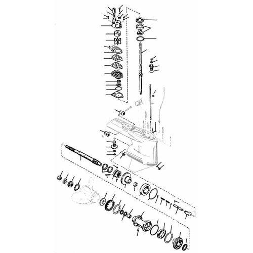 Mercury / Mariner 65 t/m 225 pk 2-takt (2.0 / 2.4 / 2.5 liter V6 / L4 / L6 staartstuk onderdelen