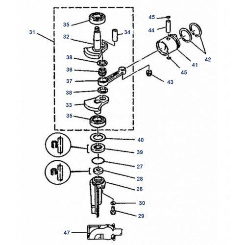 Mariner 4 pk / 5 pk 2T (Yamaha model) Krukas onderdelen