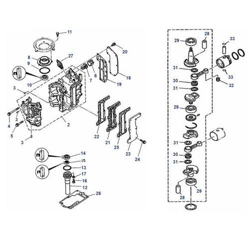 Mariner 6C/D, 8C (Yamaha model) krukas+blok onderdelen