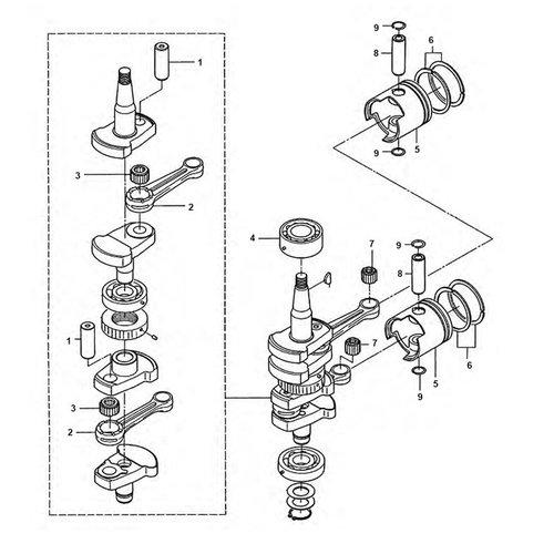 Mercury / Mariner / Tohatsu 25 pk / 30 pk 2-takt 2cil krukas onderdelen