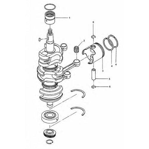 Mercury / Tohatsu 40 / 50 pk 2-takt 3cil krukas onderdelen