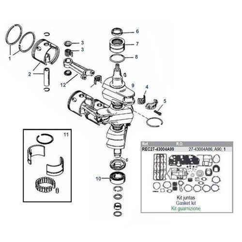Mercury 70 / 75 / 80 / 90 pk 2-takt 3cil # 9506481 tot 9793576 + 65 JET krukas onderdelen