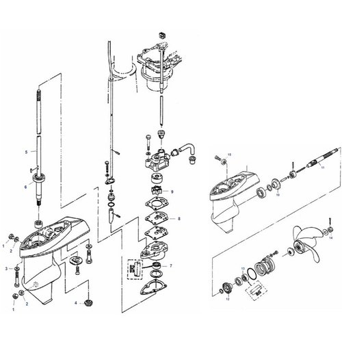 Mercury / Mariner / Tohatsu 4 / 5 pk 2-takt + 4 / 5 / 6 pk 1 cil 4-takt staartstuk onderdelen