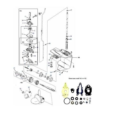 Mercury / Mariner 6 / 8 / 9.9 / 10 / 15 pk 2-takt + 9,9 / 15 pk 4-takt (232cc) staartstuk onderdelen