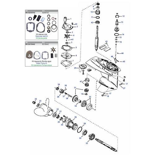 Mercury/Mariner 25 / 30 / 40 / 45 / 50 pk 4-takt carb/EFI +25 tot 50 pk 2-takt (97-06) staart parts
