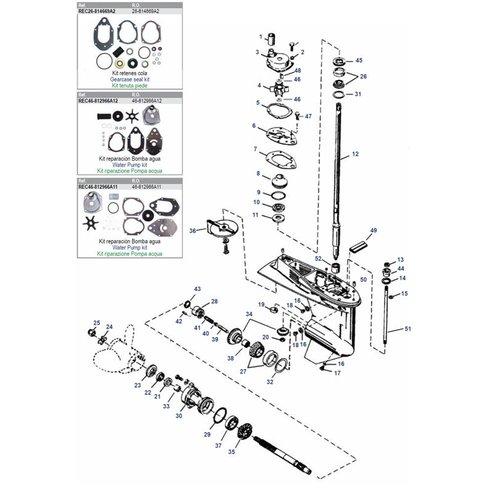 Mercury / Mariner 50 / 55 / 60 pk 3cil 2-takt + 40 / 50 / 60 pk 4-takt 4cil EFI + 40 4-takt carb 3cil staart