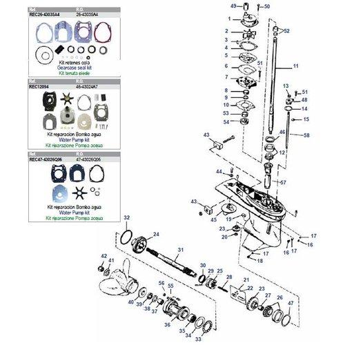 """Mercury / Mariner 30 t/m 125 pk 2-takt (3/4cil inline) + 50 t/m 150 pk 4-takt (4,25""""/107,95mm) staart"""