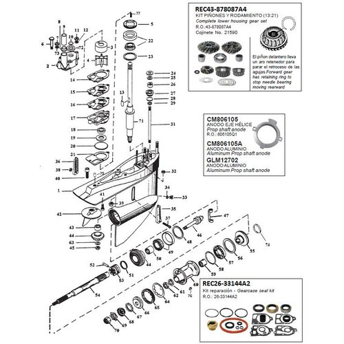 Mercruiser Gear housing components MR/Alpha one