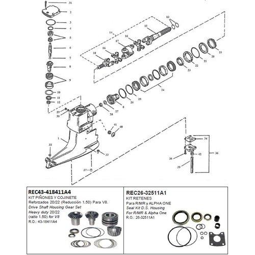 Mercruiser Drive shaft housing components R/MR/Alpha One Serie# 6225577-OD469858
