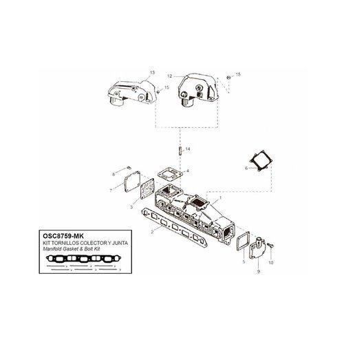 Mercruiser Manifolds, Elbows, End caps & Gaskets GM 160 - 165 - 200CID - 250 - 292CID 6 cyl en linea in line