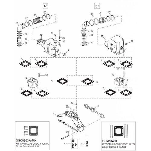 Mercruiser Manifolds, Elbows, End caps & Gaskets 175 - 185 - 205 - 262 MAG - 4.3L - 4.3LX - 4.3 LH - 4.3 LXH - 4.3 EFI 4.3 MPI - GM 262 CID V6
