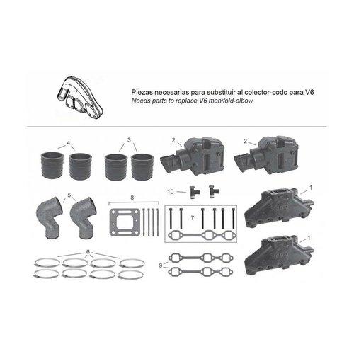 Mercruiser Manifolds, Elbows, End caps & Gaskets 262 MAG (TBI) - 4.3L (GEN+) - 4.3 L EFI (GEN+) - 4.3 LH (GEN+) 4.3LX (GEN+) - GM 262 V6 (1996-2001)