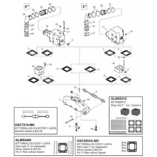 Mercruiser Manifolds, Elbows, Risers, End Caps & Gaskets 200 - 228 - 230 - 230MIE - 5.0L - 5.0LX - 898 - 5.0L MPI - GM305 CID 260 - 260 MIE - 320 EFI - 350 MAG - GM350 CID - 5.7L - 5.7LX 6.2L MPI V8 (1983 + 2003)