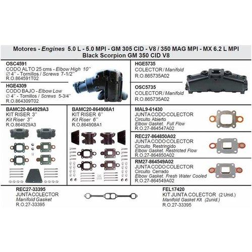Mecruiser Manifolds, Elbows, Risers, End Caps & Gaskets 5.0 L - 5.0 MPI - GM 305 CID - V8 / 350 MAG MPI - MX 6.2 L MPI Black Scorpion GM 350 CID V8
