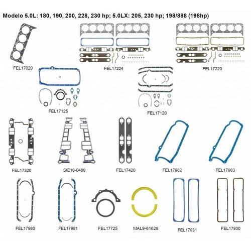 Mercruiser 8 cylinder motor pakkingen 5.0L: 180, 190, 200, 228, 230 hp; 5.0LX: 205, 230 hp; 198/888 (198hp)