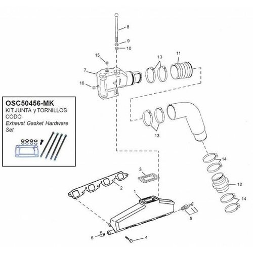 OMC Manifolds, elbows, end caps & gaskets model 7.4/8.2L GM 454/502 CID V8 (Since 1991)