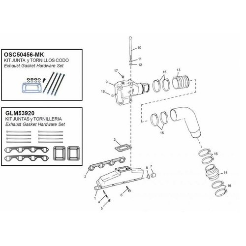 OMC Manifolds, elbows, end caps & gaskets model 5.0/5.8 & 351 EFI FORD 302/351 CID V8 (since 1991)