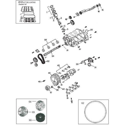 GM motorblok Block Engine parts 262 CID, V6, 4,3L