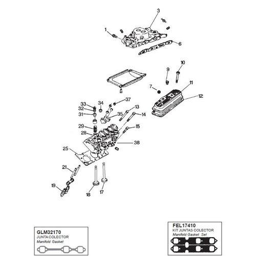 General Motor GM cilinderkop V6 262 CID  4.3L