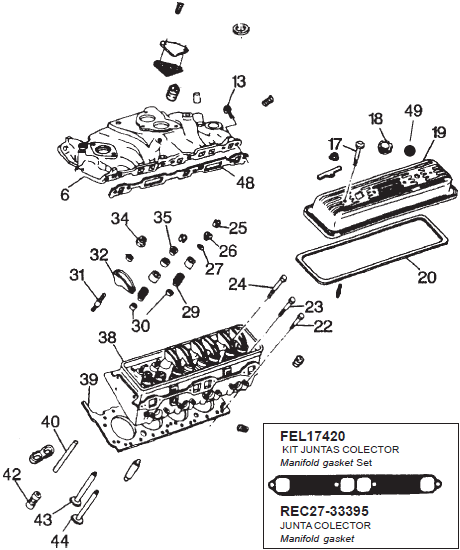 v8 cilinderkop cilinder onderdelen general motor bestel