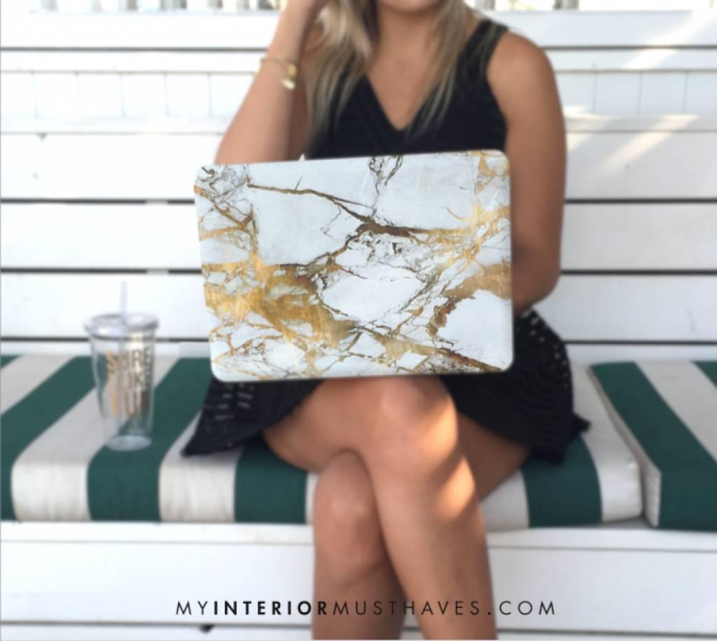 Wit Gouden Marmeren Hard Cover Mac Book Beschermer