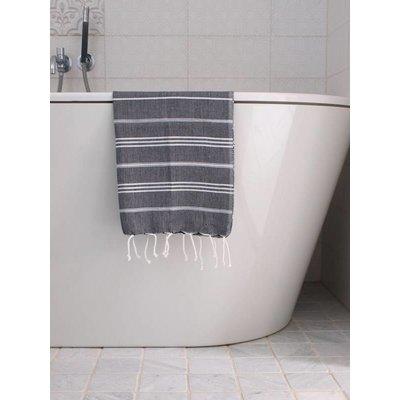 Ottomania hamam handdoek zwart met witte strepen 100x50cm