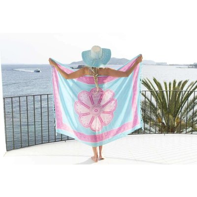 Call it Fouta! Pareo Flower soft blue soft pink