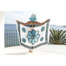 Call it Fouta! Pareo Flower white turquoise black