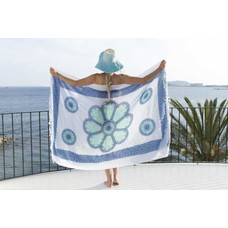 Call it Fouta! Pareo Flower white turquoise blue