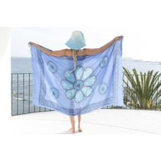Call it Fouta! Pareo Flower blue turquoise blue