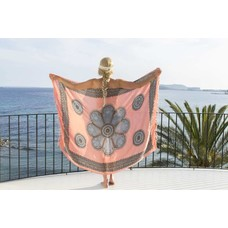 Call it Fouta! Pareo Flower pink blue anthracite