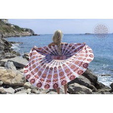 Call it Fouta! Roundie Gypsy Peacock carnival orange