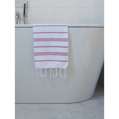 Ottomania hamam handdoek wit met cerise strepen 100x50cm
