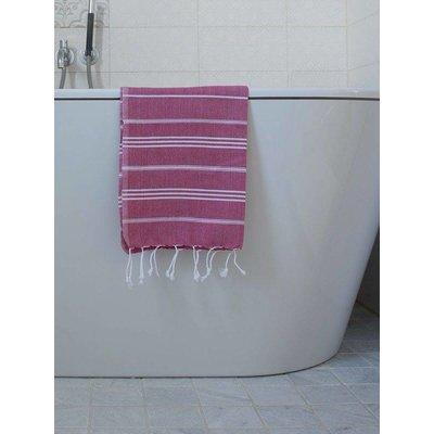 Ottomania hamam handdoek cerise met witte strepen 100x50cm